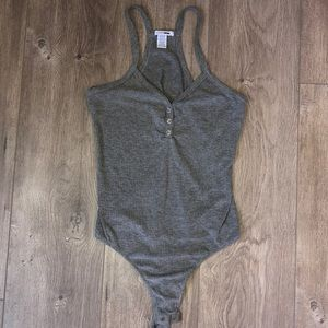 Gray Bodysuit with Faux Buttons